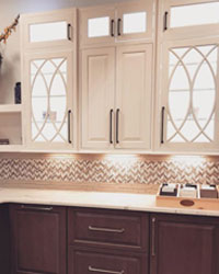 Custom Kitchen Cabinets with lighting.