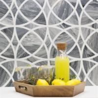 Gray Marble Backsplash with Fruit on Counter